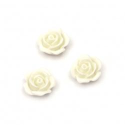 Мънисто резин тип кабошон роза 10x5.5 мм цвят бял -20 броя