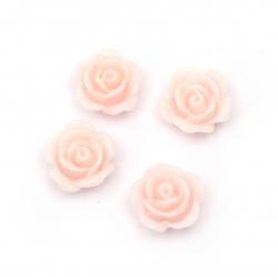 Мънисто резин тип кабошон роза 10x5.5 мм цвят розов -20 броя