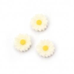 Мънисто резин тип кабошон цвете 9x3 мм цвят бял -20 броя