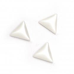 Мънисто резин тип кабошон имитация седеф триъгълник 12x11x3.5 мм цвят бял -10 броя