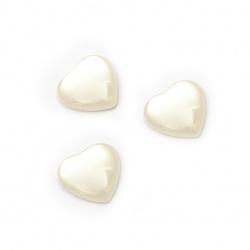 Мънисто резин тип кабошон имитация седеф сърце 10x10x3 мм цвят бял -10 броя