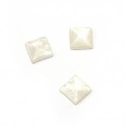 Мънисто резин тип кабошон имитация седеф квадрат 10x10x3.5 мм цвят бял -10 броя