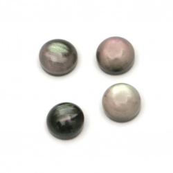 Мънисто резин тип кабошон имитация седеф кръг 5x3 мм цвят черен -20 броя