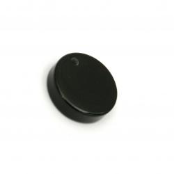 Висулка резин паричка 15x4 мм дупка 2 мм цвят черен -10 броя