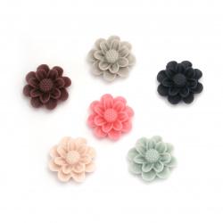 Мънисто резин тип кабошон цвете 13x5.5 мм пастел МИКС -10 броя