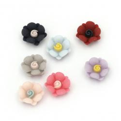 Мънисто резин тип кабошон цвете 13x6 мм пастел МИКС -10 броя