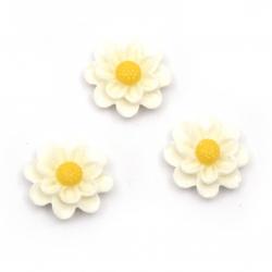 Мънисто резин тип кабошон цвете 14x5 мм цвят бял -10 броя