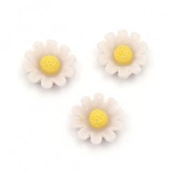 Мънисто резин тип кабошон цвете 13x5.5 мм цвят лилав бледо -10 броя