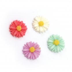 Мънисто резин тип кабошон цвете 13x4 мм МИКС -10 броя