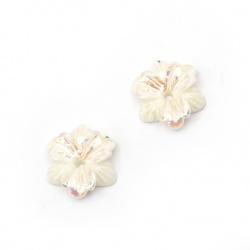 Мънисто резин тип кабошон цвете 11x3 мм цвят бял ДЪГА -10 броя