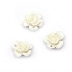 Мънисто резин тип кабошон цвете 15x7 мм цвят бял -10 броя