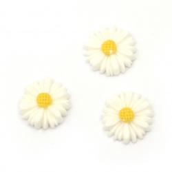 Мънисто резин тип кабошон цвете 13x4 мм цвят бял -10 броя