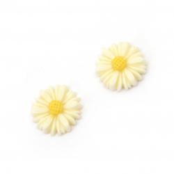 Мънисто резин тип кабошон цвете 13x4 мм цвят крем -10 броя