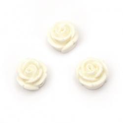 Мънисто резин тип кабошон роза 12x8 мм дупка 2 мм цвят бял -10 броя