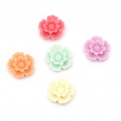Мънисто резин тип кабошон цвете 11x4 мм МИКС -10 броя