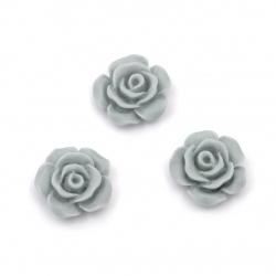 Мънисто резин тип кабошон роза 13x7 мм цвят сив -10 броя