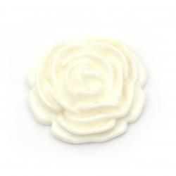 Мънисто резин тип кабошон роза 34x11 мм цвят бял -2 броя