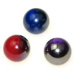 Χάντρες οπάκ με μαύρη επίστρωση UV 18 mm μίξ χρώμα 20 g 6 τεμάχια
