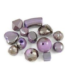 Assorted acrylic beads  with black UV plating 10 mm 10~30 mm hole 1~4 mm light purple - 50 grams