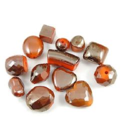 Assorted acrylic beads  with black UV plating 10 mm 10~30 mm hole 1~4 mm orange - 50 grams