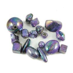 Margele solida negru UV acoperire 12 ~ 30 mm gaură 2 ~ 6 mm ASORTATE violet -50 grame