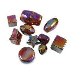 Margele solida negru UV acoperire 12 ~ 34 mm gaură 2 ~ 8 mm ASORTATE ciclamen -50 grame