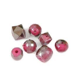 Χάντρες οπάκ  με μαύρη επίστρωση UV 14 ~ 20 mm τρύπα 2 ~ 3 mm μίξ  Κυκλάμινο -50 γραμμάρια