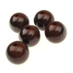 Margele solida negru UV acoperire 14 mm gaură 2 mm maron -20 g - 13 bucăți