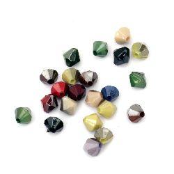 Margele solida cu acoperire UV romb 6x6 mm gaură 1 mm  mix -20 grame ~ 235 bucăți