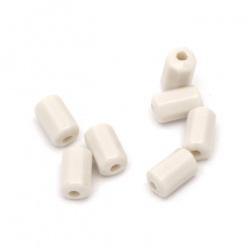 Мънисто плътно цилиндър многостен 9x5 мм дупка 2 мм цвят бял -50 грама ±285 броя