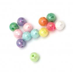 Мънисто плътно топче многостен 6 мм дупка 1 мм дъга МИКС -20 грама ±190 броя