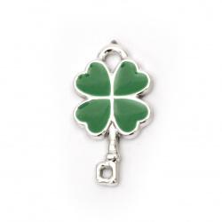 Pandantiv cheie trifoi cheie 26x14,5x3 mm gaura 3 mm culoare verde -10 bucăți