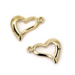 Висулка CCB сърце 21x17x3 мм дупка 1.5 мм цвят злато -20 броя