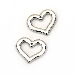 Pendant Heart CCB 21x18x3 mm hole 1 mm color silver -20 pieces