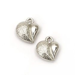 Висулка CCB сърце 15x14x5 мм дупка 2 мм цвят сребро -20 броя