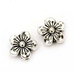 Bead CCB flower 15x8 mm hole 1.5 mm color silver -20 pieces