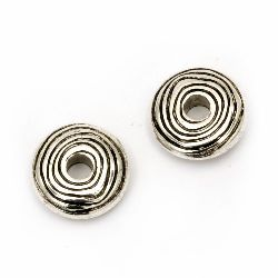 Bead CCB washer 14x5 mm hole 4 mm color silver -20 pieces
