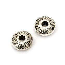 Bead CCB washer 14x6 mm hole 4 mm color silver -20 pieces