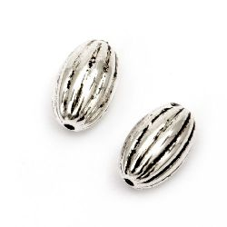 Bead CCB oval 12x8 mm hole 1 mm color silver -20 pieces