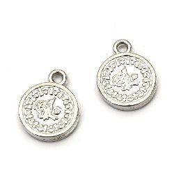 Висулка CCB паричка 17x13 мм дупка 1.5 мм цвят сребро -20 броя
