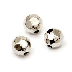 Bead CCB ball 8 mm hole 1.5 mm faceted color silver -50 pieces