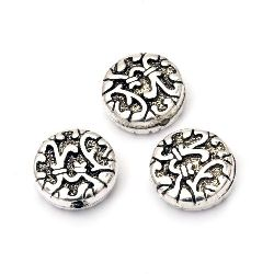 Bead CCB coin 14x5 mm hole 1 mm color silver -10 pieces