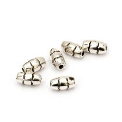 Bead CCB oval 8x4 mm hole 1 mm color silver -100 pieces