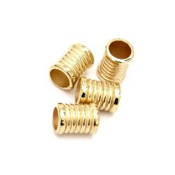 Bead CCB cylinder 12.5x9 mm hole 7 mm color gold -20 pieces
