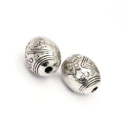 Bead CCB oval 16x13 mm hole 2.5 mm color silver -10 pieces
