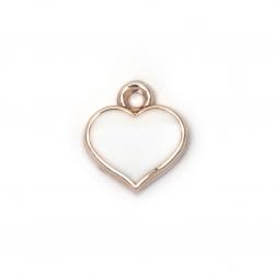 Pandantiv CCB inimă 17x15x3,5 mm gaură 2 mm culoare albă auriu -10 bucăți