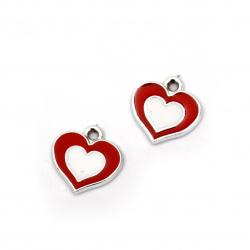 Висулка CCB сърце 16x16x3 мм дупка 1.5 мм червено-бяло -10 броя