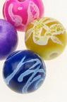 Мънисто рисувано топче 8 мм дупка 2 мм цветно -20 грама ~70 броя