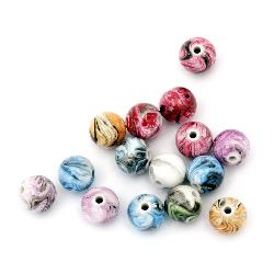 Мънисто плътно топче 12 мм дупка 2.5 мм рисувано микс -50 грама ~ 50 броя