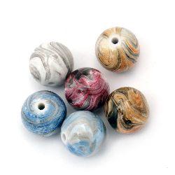 Margele solidă bila  18 mm gaură 2,5 mm pictate mix -50 grame ~ 15 bucăți